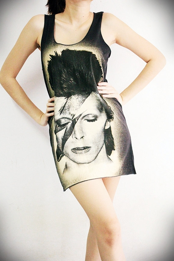 David Bowie Screenprinted Long Tee