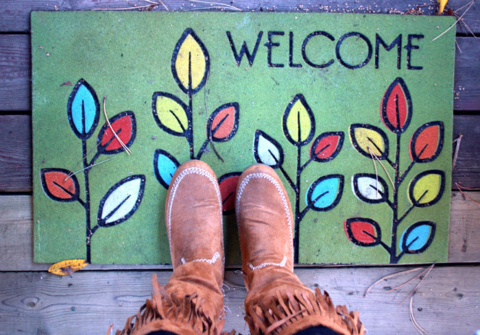Welcome Mat and Feet